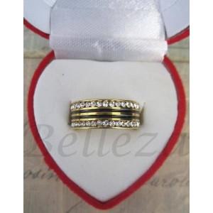 Пръстен тип халка със златна баня от медицинска стомана, черен емайл и цирконий R - 207