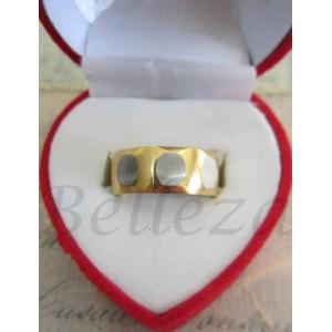 Пръстен тип халка със сребърна и златна баня от медицинска стомана R - 270