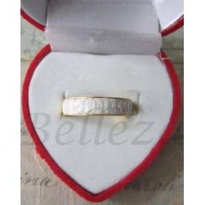 Пръстен тип-халка със златна баня от медицинска стомана и бели кристали R - 316