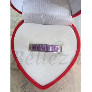 Пръстен тип-халка със сребърна баня от медицинска стомана и лилави кристали R - 314