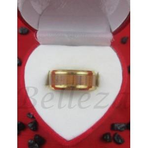 Пръстен тип халка със златна баня от медицинска стомана R - 497