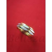 Пръстен тип халка със сребърна и златна баня от медицинска стомана R - 541