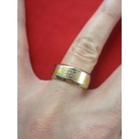 Пръстен тип халка със сребърна и златна баня от медицинска стомана R - 545