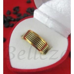 Пръстен тип халка със златна баня от медицинска стомана R - 560