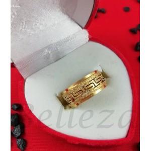 Пръстен тип халка със златна баня от медицинска стомана и брокат R - 571