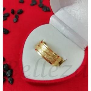 Пръстен тип халка със златна баня от медицинска стомана и брокат R - 572