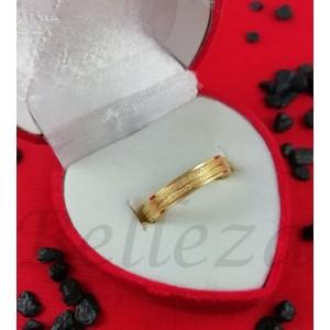 Пръстен тип халка със златна баня от медицинска стомана и брокат R - 575