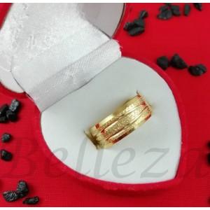Пръстен тип халка със златна баня от медицинска стомана R - 578