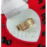 Пръстен тип халка със златна баня от медицинска стомана и брокат R - 283