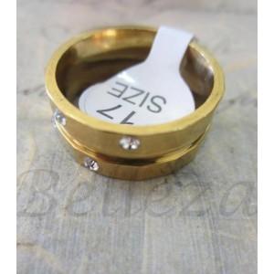 Пръстен тип халка със златна баня от медицинска стомана и цирконий R - 272