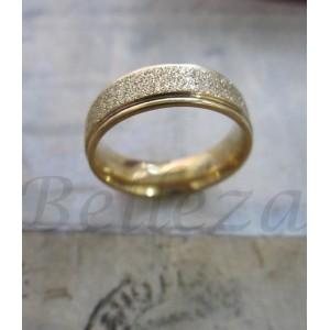 Пръстен тип халка със златна баня от медицинска стомана и брокат R - 221