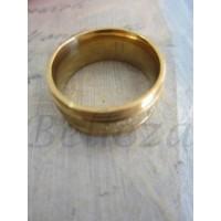 Пръстен тип халка със златна баня от медицинска стомана и брокат R - 279
