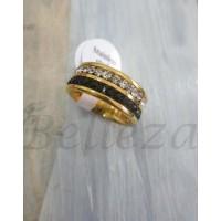 Пръстен тип халка със златна баня от медицинска стомана и цирконий R - 304