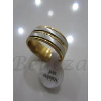 Пръстен тип халка със сребърна и златна баня от медицинска стомана R - 290