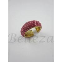 Пръстен тип халка със златна баня от медицинска стомана и розови камъни тип Сваровски R - 489