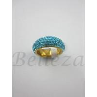 Пръстен тип халка със златна баня от медицинска стомана и сини камъни тип Сваровски R - 488
