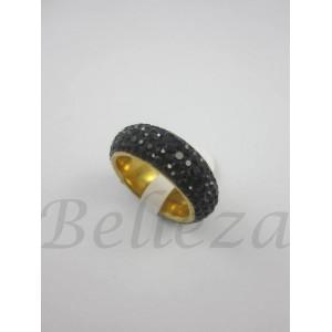 Пръстен тип халка със златна баня от медицинска стомана и черни камъни тип Сваровски R - 490