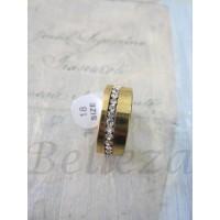 Пръстен тип халка със златна баня от медицинска стомана и цирконий R - 275
