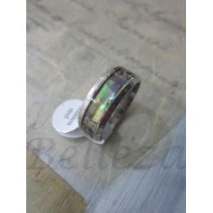 Пръстен тип-халка със сребърна баня от медицинска стомана и седеф R - 345