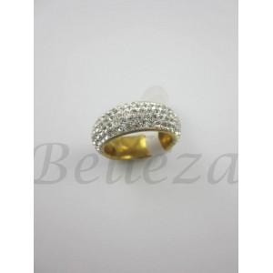 Пръстен тип халка със златна баня от медицинска стомана и бели камъни тип Сваровски R - 491