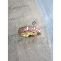 Пръстен със златна баня от медицинска стомана и розови кристали R - 318