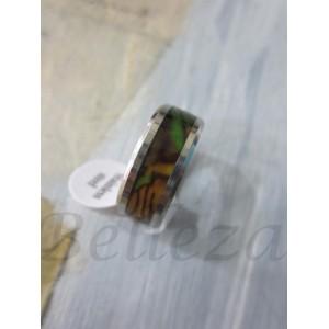 Пръстен тип-халка със сребърна баня от медицинска стомана и седеф R - 346