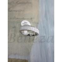 Пръстен тип-халка със сребърна баня от медицинска стомана и бели кристали R - 315