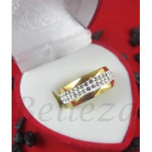Пръстен тип халка със златна баня от медицинска стомана и шамбала мотив R - 555