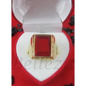 Пръстен със златна баня от медицинска стомана и червен камък R - 384