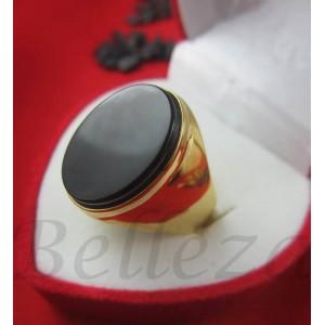 Пръстен със златна баня от медицинска стомана и черен камък R - 266