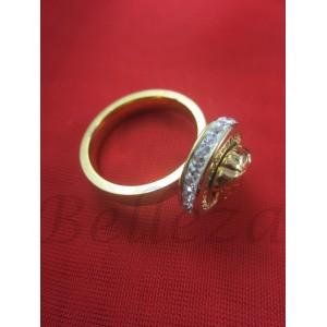 Пръстен със златна баня от медицинска стомана и шамбала мотив R - 566