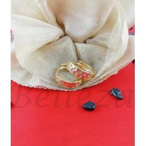 Дамски обеци със златна баня от медицинска стомана и бели цирконий E - 21624
