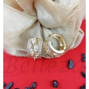 Дамски обеци със златна баня от медицинска стомана и бели цирконий E - 21618
