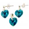 Сребърен комплект с кристали сърца Сваровски с цвят морско синьо