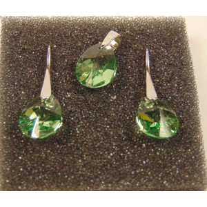 Сребърен комплект с кристали Сваровски МиниКруша Оливин