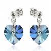 Сребърни обеци с кристали Сваровски Бермудско Синьо Сърце