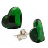 Сребърни обеци с кристали Сваровски Зелен Мъх