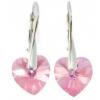 Сребърни обеци с кристали Сваровски Розово Сърце