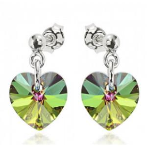Сребърни обеци с кристали Сваровски Зелен Хамелеон