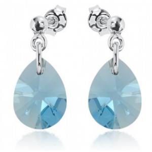 Сребърни обеци с кристали Сваровски Морско Синьо