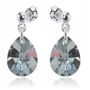 Сребърни обеци с кристал Сваровски Кометен Блясък