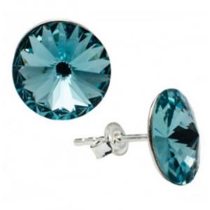 Сребърни обеци с кристали Сваровски тъмен Тюркоаз