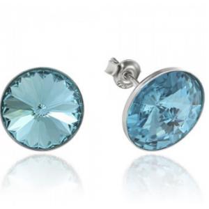Сребърни обеци с кристали Сваровски Тюркоаз