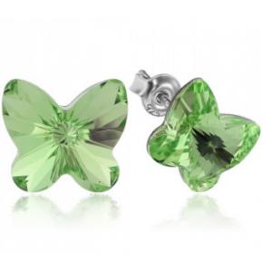 Сребърни обеци с кристали Сваровски Пеперуда Оливин