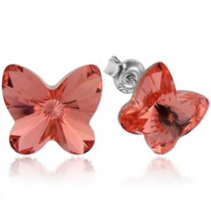 Сребърни обеци с кристали Сваровски Прасковна Пеперуда