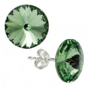 Сребърни обеци с кристали Сваровски Кръгъл Оливин