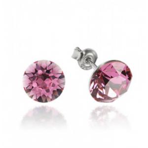 Сребърни обеци с кристали Сваровски Сириус Розови