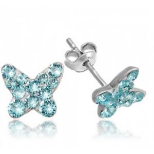 Сребърни обеци с кристали Сваровски Пеперуда Мини Тюркоаз