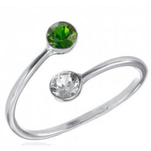 Сребърен пръстен с двойка кристали Папрат