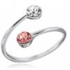 """Сребърен пръстен с двойка кристали """"Праскова"""""""
